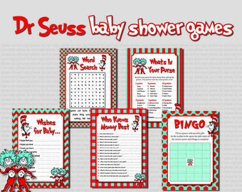 INSTANT DL- 5 Dr Seuss Baby Shower games-  Printable Ready to Go Package