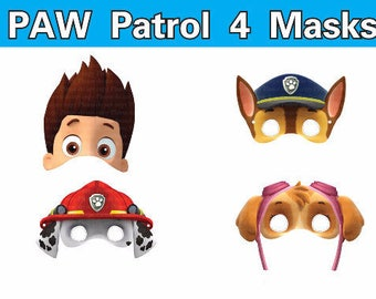 INSTANT DL Paw Patrol masks photo booth props  Birthday Party -Printable