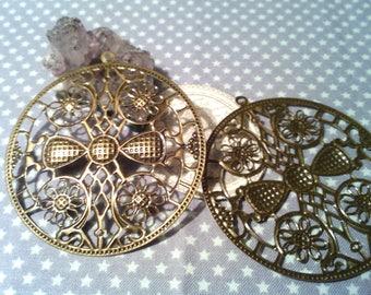 BIG prints/pendant, 65 mm in diameter, bronze iron color