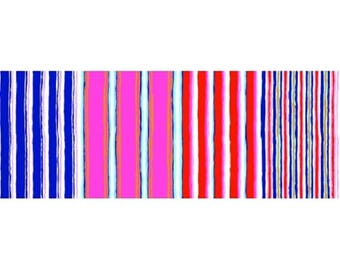 patchwork fabric kaffe fasset striped blue, white, red, pink 163CONTR