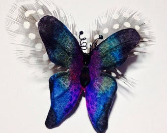 """Butterfly-leather brooch """"Rainbow"""""""