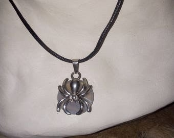 Spider made of steel and banded chalcedony stone pendant