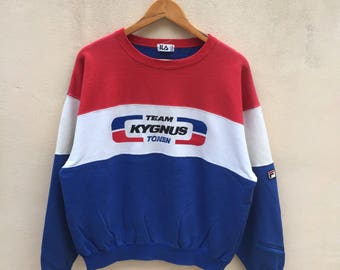 Rare! Vintage Fila Team Kygnus Tonen Sweatshirt Pullover Jumper Japan 80s F3000 Team Mechanic Clothes