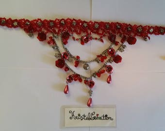 Necklace Choker necklace Multi strand red tones