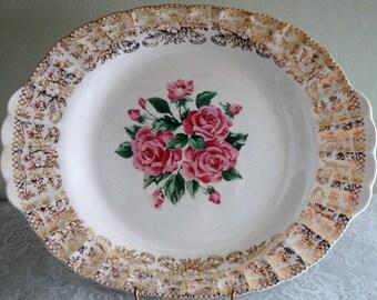 Vintage Sebring Pottery Co. Serving Platter, China Bouquet Pattern, Warranted 22 K Gold Ornate Band