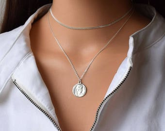 Silver Coin Necklace, Cricle Necklace, Sterling Silver Necklace,Dainty Necklace,Silver Pendant Necklace,Layered Necklace,Silver Coin Pendant