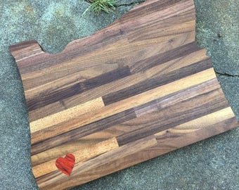 State Shaped Cutting Board With Heart Inlay