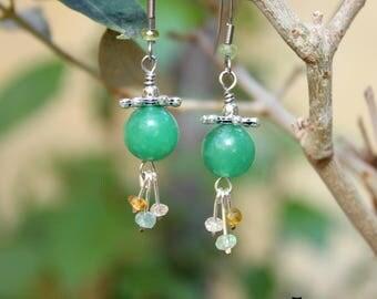 Earrings aventurine and tourmaline beads