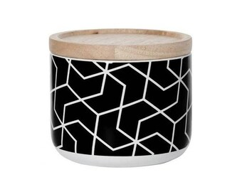 Scented Canister Soy Candle - Black Cheveron