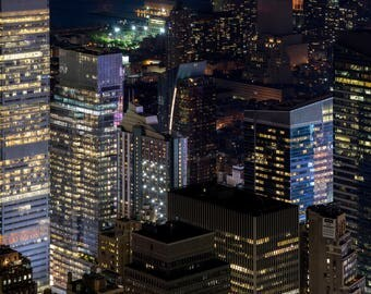 New York City from Above, New York City Financial District of Manhattan Island, Urban Skyline, Nighttime City Photography, Lighted Buildings