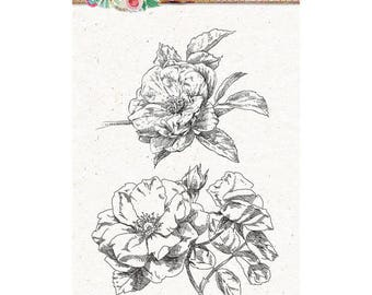 A6 flower XL Sweet romance - STAMPSR131 clear stamp