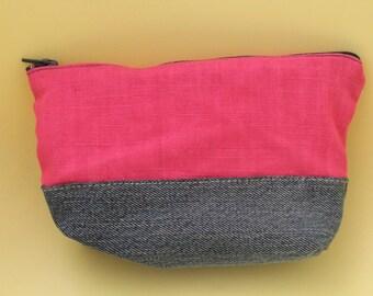 Wallet bi-material denim and pink