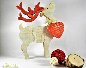 reindeer in poplar wood and reclaimed wood-large heart kotè
