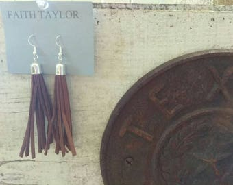 Suede Leather Tassel Earrings, choose your length & color
