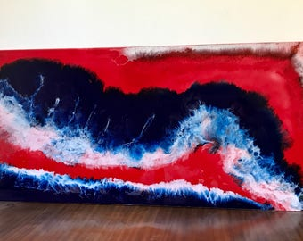 Painting red ocean epoxy resin