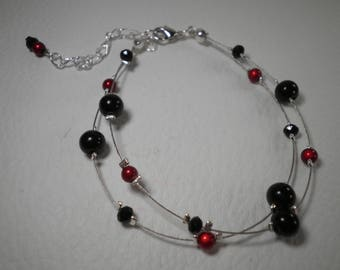 02068 - Double bracelet red and black