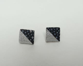 Geometric leather 2 Stud Earrings silver and black triangles