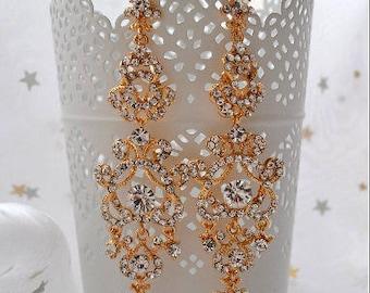Bridal chandeliers earrings, Art deco style earrings * EMMA *