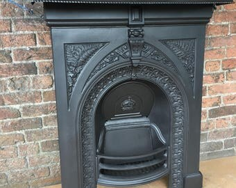 Original Victorian cast iron fireplace fire surround