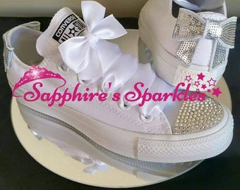 Large Bow Silver Crystal Customised Bling Mono Chucks White Converse