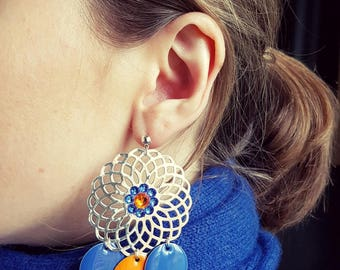 Earrings Orange and Royal Blue and Silver Rosette (drilled)