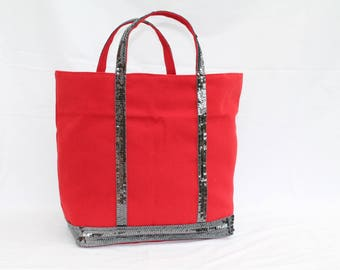 The Red bag with round grey glitter