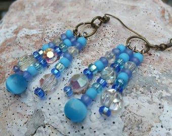 Blue Fiber Optic Bead Earrings