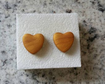 Handmade heart shape polymer clay earrings