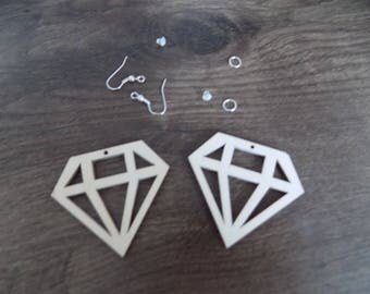 Kit earrings in natural wood wood rough cut diamond