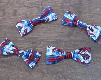 set of four African blue/black/white/red bows