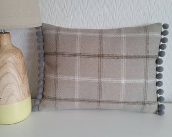 Handmade Tartan Wool Light Brown/Beige Pom Pom Cushion Cover