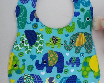 Bib with PVC lining - fabric elephant patterns