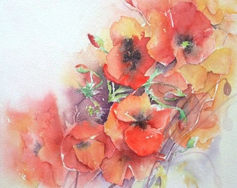 Poppies - Figurative watercolor