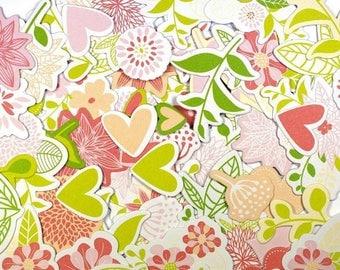 Embellishments - Die cuts Nature pink and green - from 3 to 5 cm - 70 pcs - Toga - new