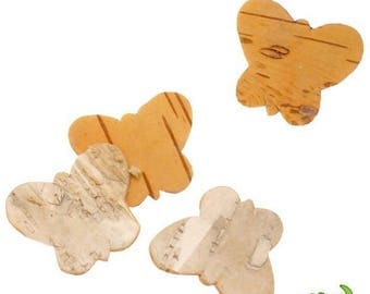 Set of 10 beautiful real wood (birch) 3 cm, embellishment natural butterflies!