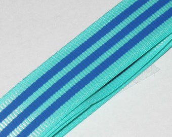 1 meter Ribbon grosgrain stripe blue and green background