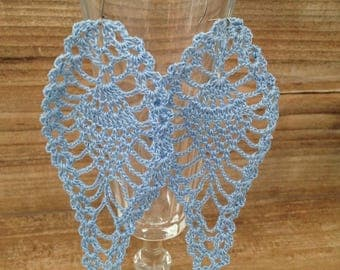 "Long earrings ""pineapple"" blue crochet lace"