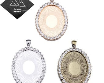30x40mm Single Row Rhinestones Claw Oval Pendant Tray Pendant Blank Cameo Cabochon Base Setting fit 18x25mm Oval Cabochon 10 PCS