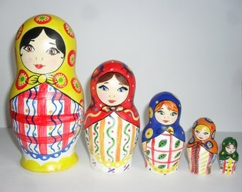 "Nesting Dolls 17 cm 6,7"" matryoshka, nesting doll, russian doll, Khokhloma, Khokhloma painting"