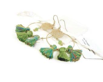 Creole Golden tassel blue green earrings