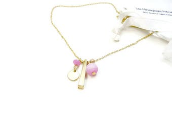 Simple minimalist necklace with chain Choker with pink and gold plated pendant