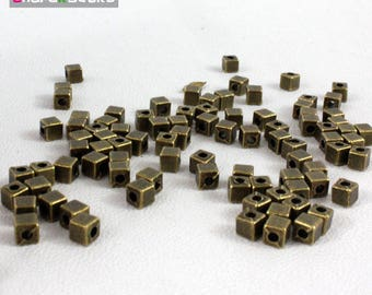 set of 20 beads cube bronze 4 mm hole 2 mm
