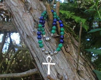 Ankh of lapis lazuli, malachite necklace