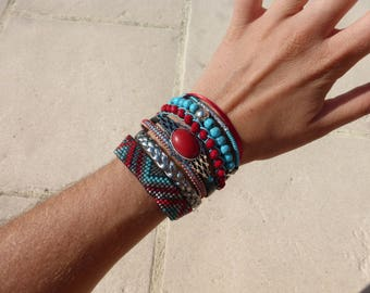 Multi strand Cuff Bracelet Turquoise and Red