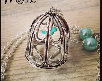 """Blue and silver necklace """"Poetic Cage"""""""