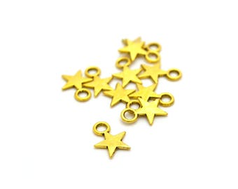 10 charms of Christmas stars gold metal 8x11mm