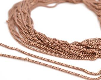 50cm Fine chain beige pink and golden metal 1.8 mm