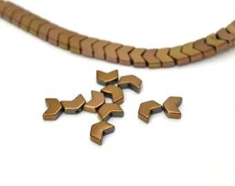 10 beads bronze herringbone copper Hematite 6x5mm