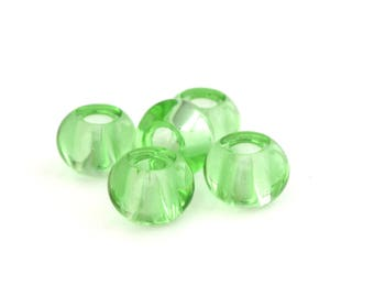5 green glass with large holes 15x10mm abacus beads