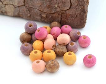 Mix of 25 beads round 8mm fuchsia, peach, purple, yellow, orange and brown round wooden